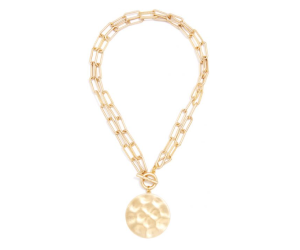 Rotating The Double Strand Gold Link Coin Necklace
